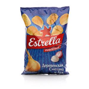 Чипсы картофельные деревенская сметана и лук (рифленые) ТМ Estrella (Эстрелла)