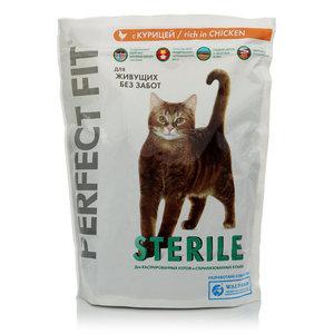 Корм сухой sterile для кастрированных котов и стерилизованных кошек, с курицей ТМ Perfect Fit (Перфект фит)