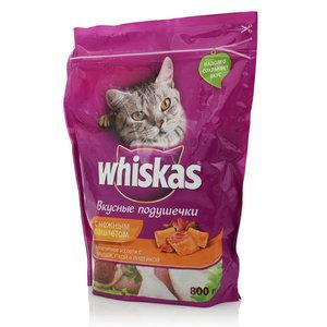 Подушечки с нежным паштетом, ассорти с курицей, уткой и индейкой. Корм сухой для взрослых кошек ТМ Whiskas (Вискас)