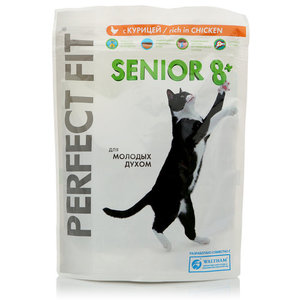 Корм сухой senior 8+  для взрослых кошек, с курицей ТМ Perfect Fit (Перфект фит)