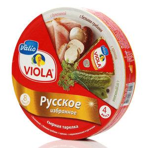 Сыр плавленый ассорти Русское избранное: с бужениной, с маринованными огурчиками,  с хреном, с белыми грибами ТМ Viola (Виола)