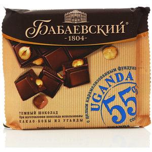 Шоколад темный Бабаевский Uganda (Уганда) с  целым карамелизованным фундуком
