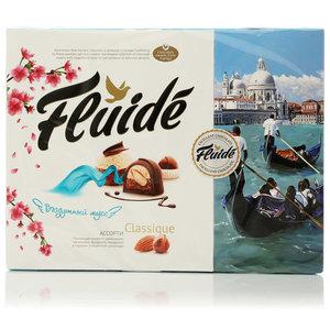 Набор конфет ассорти с фундуком и миндалем в молочном и горьком шоколаде ТМ Fluide classique (Флюид классик)