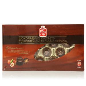Шоколадные конфеты из темного шоколада с дробленым лесным орехом ТМ Fine Life (Файн Лайф)