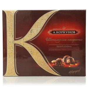 Конфеты из темного шоколада с цельным фундуком и темной ореховой начинкой ТМ Коркунов