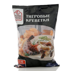 Тигровые креветки очищенные с хвостом варено-мороженые ТМ FINE FOOD (ФАЙН ФУД)