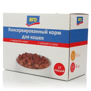 Корм полнорационный для кошек с говядиной+ с курицей ТМ Aro (аро)