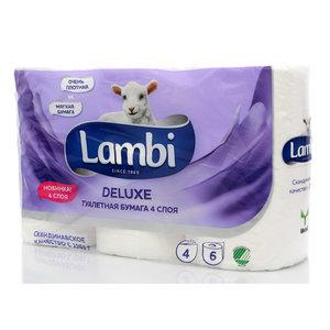 Туалетная бумага Deluxe ТМ Lambi (Ламби), 6 рулонов