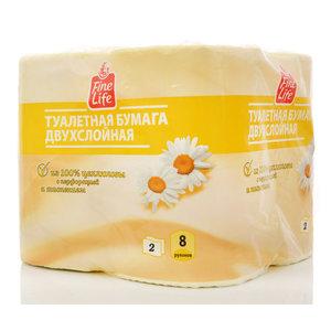 Туалетная бумага двухслойная ароматизированная Ромашка ТМ Fine life (Файн Лайф), 8 рулонов