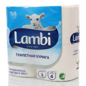 Туалетная бумага ТМ Lambi (Ламби), 4 рулона