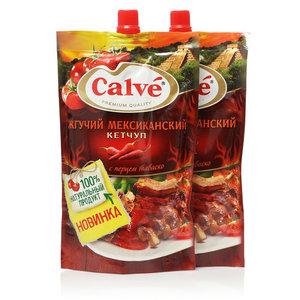 Кетчуп жгучий мексиканский с перцем табаско ТМ Calve (Кальве), 2*350г