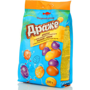 Драже ананас в белой шоколадной и хрустящей глазури, папайя и изюм в молочной шоколадной и хрустящей глазури ТМ Озерский сувенир