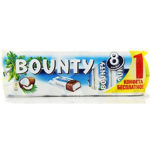 Конфета Bounty с нежной мякотью кокоса, покрытая молочным шоколадом, 220 г (8 x 27,5 г) TM Mars (Марс)
