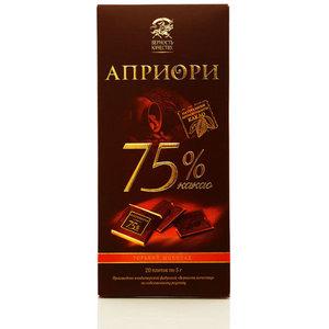 Горький шоколад Априори 75% какао ТМ Верность качеству