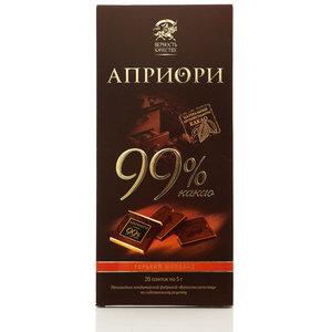 Горький шоколад Априори 99% какао, 20 плиток по 5 г ТМ Верность качеству