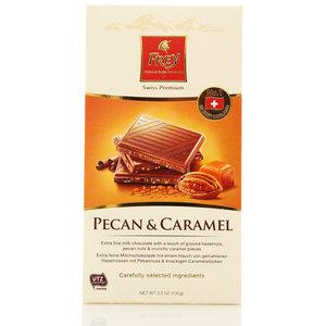 Шоколад молочный нежный с орехами пекан и хрустящей карамелью ТМ Frey (Фрей)
