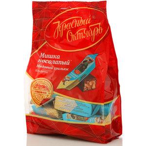 Конфеты глазированные шоколадной глазурью с корпусом из грильяжной массы мишка косолапый ТМ Красный Октябрь