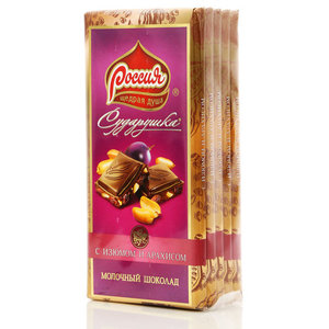 Шоколад молочный с изюмом и арахисом Сударушка 5*90г ТМ Россия