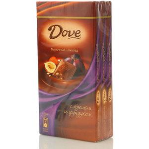 Шоколад молочный с фундуком и изюмом 3*100г ТМ Dove (Дав)