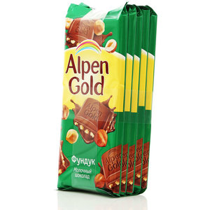 Шоколад молочный с фундуком 5*90г  ТМ Alpen Gold (Альпен Гольд)