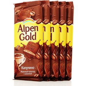 Шоколад молочный начинка капучино 5*90г ТМ Alpen Gold (Альпен Гольд)