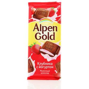 Шоколад молочный с клубнично-йогуртовой начинкой ТМ Alpen Gold (Альпен гольд)