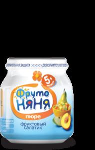 Пюре из яблок, груш и персиков Фруктовый Салатик для питания детей с 5-и месяцев ТМ ФрутоНяня