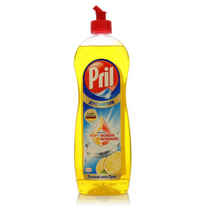 Средство для мытья посуды ТМ Pril (Прил) Дуо Актив лимон