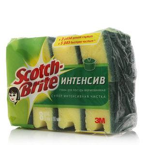 Губки интенсив для посуды, 70*90мм, 8 шт, ТМ Scotch Brite (Скотч Брайт)