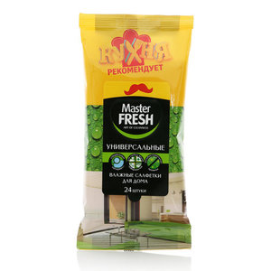 Салфетки влажные чистящие хозяйственные очищающие универсальные ТМ Master Fresh (Мастер фреш), 24 шт.