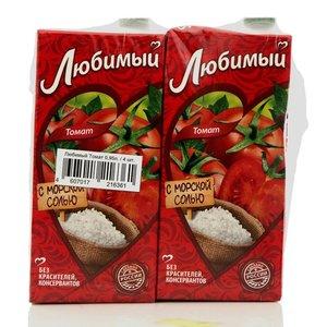 Сок томатный с солью и сахаром ТМ Любимый, 4*950мл