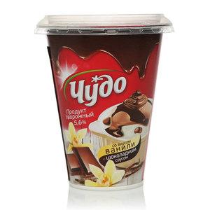 Творожок десерт ваниль с шоколадным соусом 5,6% ТМ Чудо