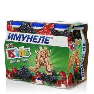 Напиток кисломолочный For Kids (Для Детей) Ягодный Бум 1,5% ТМ Имунеле, 6*100 мл