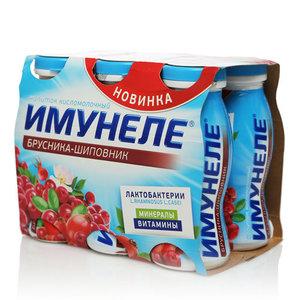 Напиток кисломолочный с соком брусники и экстрактом шиповника 1,2% ТМ Имунеле, 6*100 мл