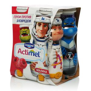 Напиток кисломолочный с малиной 2,5% ТМ Actimel (Актимель), 4*100 мл