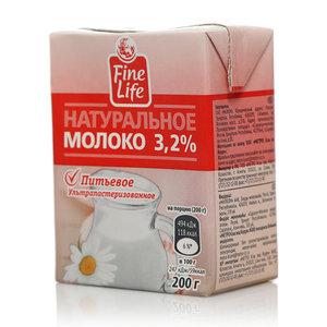 Молоко  3,2% ТМ Fine Life (Файн Лайф) ультрапастеризованное