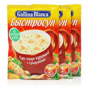 Суп-пюре куриный с сухариками Быстросуп ТМ Galina Blanca (Галина Бланка) 3*17г