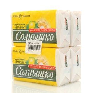 Мыло хозяйственное с ароматом лимона Солнышко ТМ Невская Косметика, 4*140г
