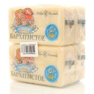 Мыло туалетное Бархатистое ТМ Невская Косметика, 4*140г