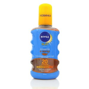 Солнцезащитное масло-спрей для загара ТМ Nivea sun (нивеа сан) Защита и Загар SPF 20