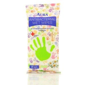 Антибактериальные влажные салфетки ТМ Aura, 20 шт.