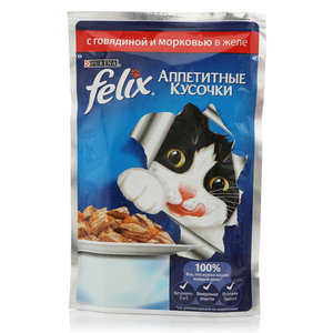 Корм для кошек с говядиной и морковью в желе ТМ Felix (Феликс)